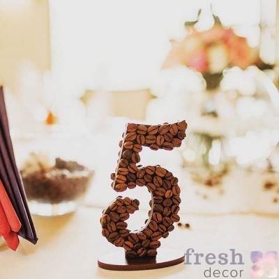 Номерки из кофе на свадьбу