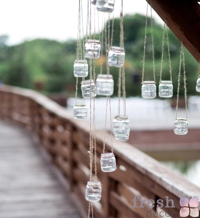 Декор баночками со свечами