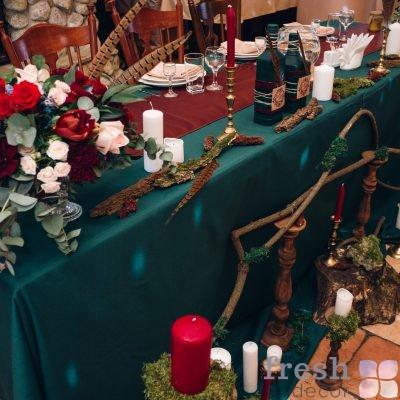 скатерть для стола в аренду зеленая 2