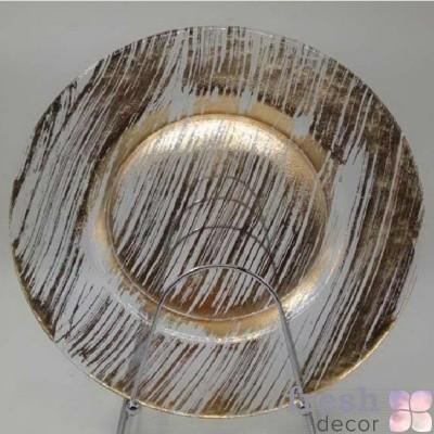 прозрачная подстановочная тарелка с золотыми мазками