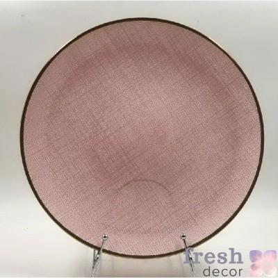 розовая подстановочная тарелка с шероховатой поверхностью