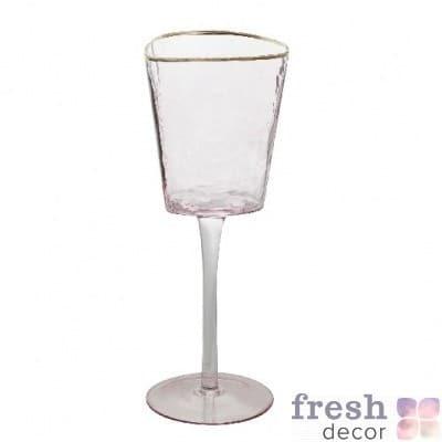фужеры Эванс для вина розовые с морозного стекла с золотым ободком 1