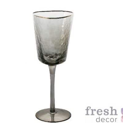 фужеры Эванс для вина розовые с морозного стекла с золотым ободком 2